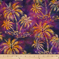 Batik by Mirah Flamenco Palm Trees Bay Purple
