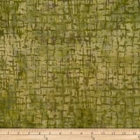 Batik by Mirah Herbiage Crosshatches Dry Moss Green