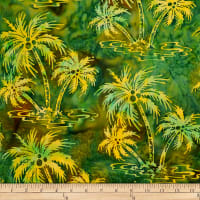Batik by Mirah Peapod Palm Trees Drumbeat Green
