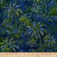 Batik by Mirah Peapod Palm Trees Brush Wood Blue