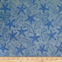 Batik by Mirah Blue Chase Seahorses Pacific Blue