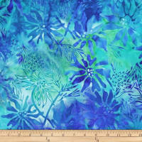 Batik by Mirah Day Cruise Florals Bluegreen Blue
