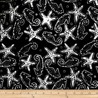 Batik by Mirah Night Cruise Seahorses Black White