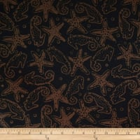 Batik by Mirah Night Cruise Seahorses Brown Black