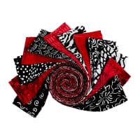 "Batik by Mirah 2.5"" Strip Rolls Black White & Red, 24 pcs."