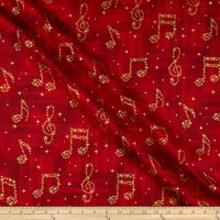 Kaufman In Harmony Musical Notes Scarlet