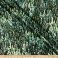 Kaufman Nature's Window Metallic Allover Trees Spruce