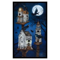 "Kaufman Raven Moon 24"" Panel Birdhouses Spooky"