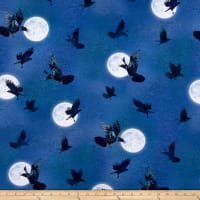 Kaufman Raven Moon Flying Birds Spooky