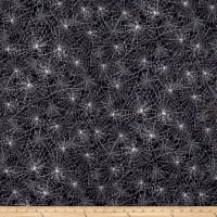 Kaufman Raven Moon Spiderwebs Black