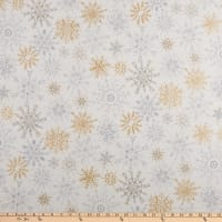 Kaufman Winter Shimmer Metallic Snowflakes White