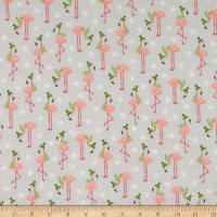 Kaufman Bundled Buddies Flannel Flamingos Grey
