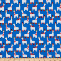 Kaufman Bundled Buddies Flannel Llamas Blue