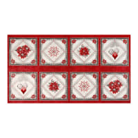 "Kaufman Holiday Flourish 12 Metallic 24"" Panel Scarlet"