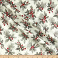 Kaufman Holiday Flourish 12 Metallic Holly Berry Silver