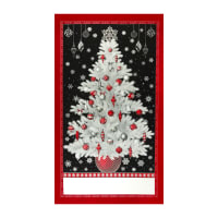 "Kaufman Winter's Grandeur Metallic 7 Tree 24"" Panel Silver"