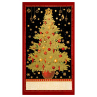 "Kaufman Winter's Grandeur Metallic 7 Tree 24"" Panel Holiday"