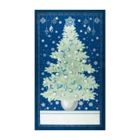 "Kaufman Winter's Grandeur 24"" Panel Metallic 7 Tree Navy"