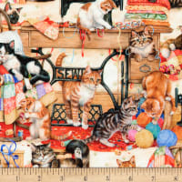 Kaufman Sewing Buddies Cats Multi