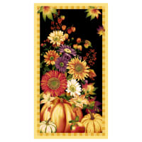 "Henry Glass Autumn Time 24"" Banner Panel Black"
