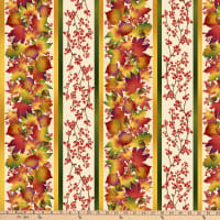 Henry Glass Autumn Time Border Stripe Cream