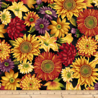 Henry Glass Autumn Time Mixed Floral Black