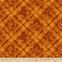 Henry Glass Autumn Time Plaid Scroll Pumpkin