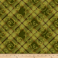 Henry Glass Autumn Time Plaid Scroll Green