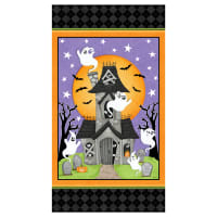 "Henry Glass Glow In The Dark Ghostly Glow Town 24"" Panel Multi"