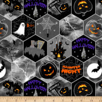 Henry Glass Metallic Hocus Pocus Honeycomb Halloween Black
