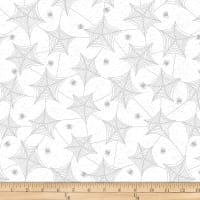 Henry Glass Metallic Hocus Pocus Tossed Spiderweb White