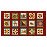 "Henry Glass Live Within Your Harvest 6""x 6"" Blocks Red"