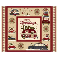 "Henry Glass Buttermilk Winter 36"" Campers & Cars Panel Cream"