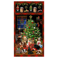 "Henry Glass Fireside Pups 24"" Christmas Puppy Panel Red"