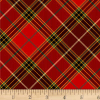 Henry Glass Fireside Pups Plaid Red