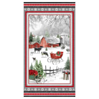 "Henry Glass Holiday Homestead 24"" Farm Scene Panel Red/Gray"