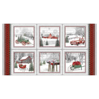 "Henry Glass Holiday Homestead 24"" Farm Scene Blocks Panel Red/Gray"