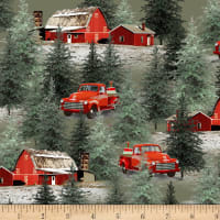 Henry Glass Holiday Homestead Trucks & Barn Scene Green