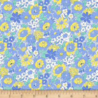 Henry Glass Nana Mae III 1930's Medium Floral Blue