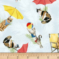 P&B Textiles Coastal Kitty Collection All Over Kitty Multi