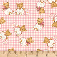 P&B Textiles Welcome Baby Teddy Bears Pink