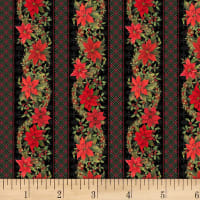 P&B Textiles Christmas Bird Song Border Stripe Multi