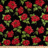 Michael Miller Happy Holly-Days Poinsettia in the Snow Garland