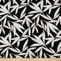Crepe de Chine Leaf Black/Off-White/Tan