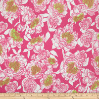 Liverpool Knit Large Floral Bright Pink/Lime/White