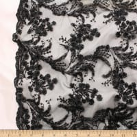 Telio Lindie Lace Mesh Beaded Floral Lace Black