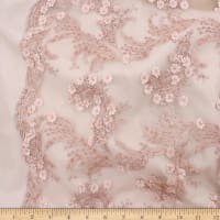 Telio Lindie Lace Mesh Beaded Floral Lace Whisper Pink