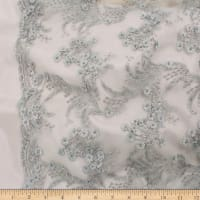 Telio Lindie Lace Mesh Beaded Floral Lace Silver Birch