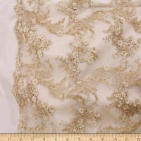 Telio Lindie Lace Mesh Beaded Floral Lace Gold