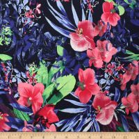 Telio Bloom Stretch Cotton Sateen Floral Orchid Navy Fuchsia